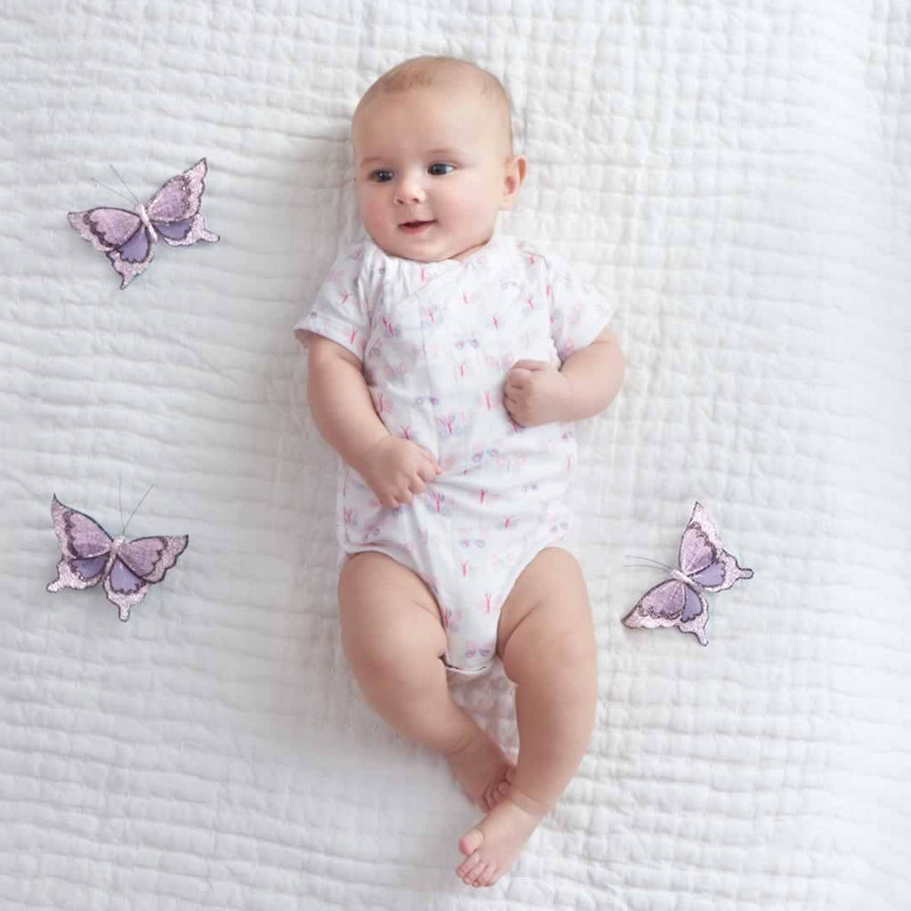 aden + anais Short Sleeve Kimono Body Suit - Mini Flutter - Babygrows & Sleepsuits - Natural Baby Shower