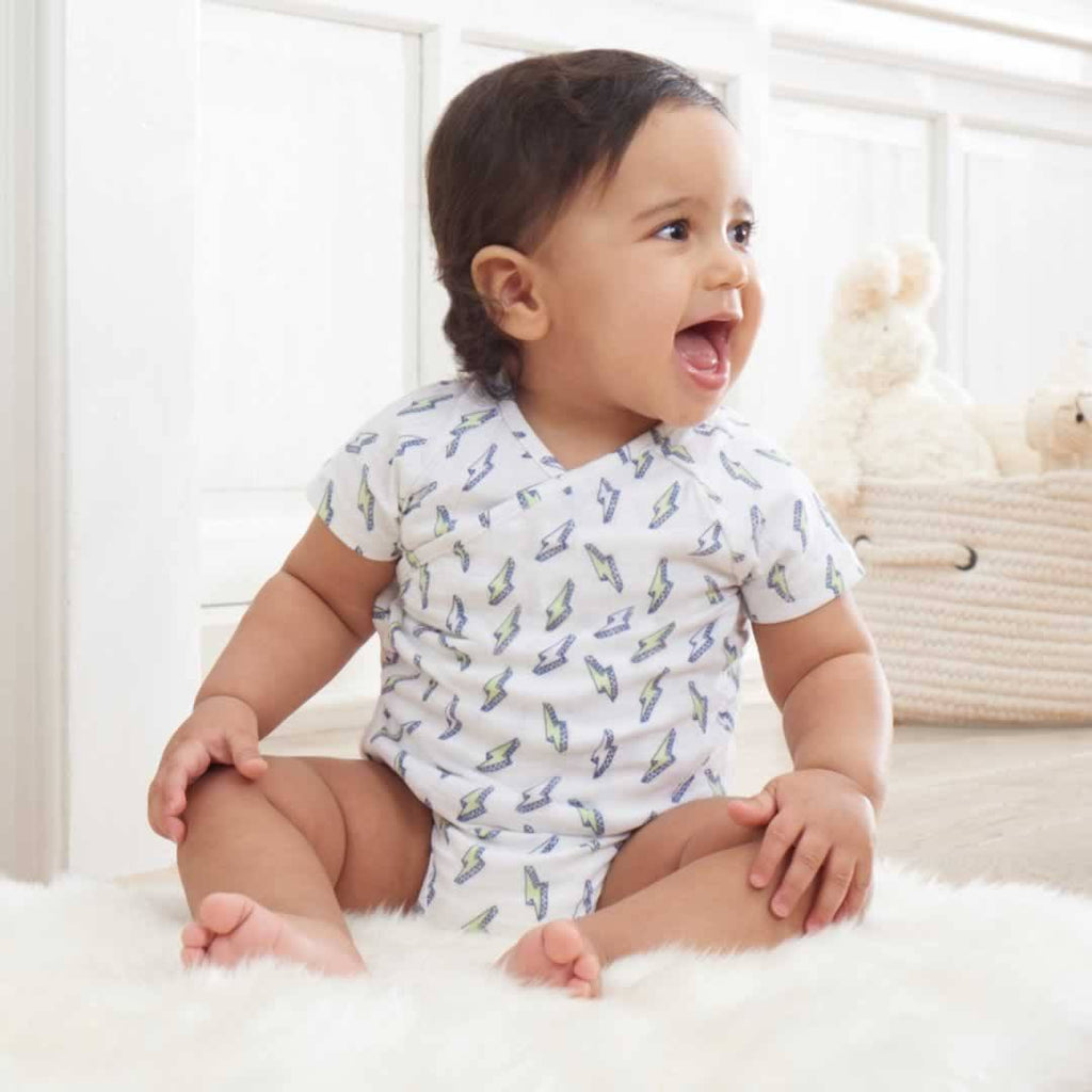 aden + anais Short Sleeve Kimono Body Suit - Mini Bolt - Babygrows & Sleepsuits - Natural Baby Shower
