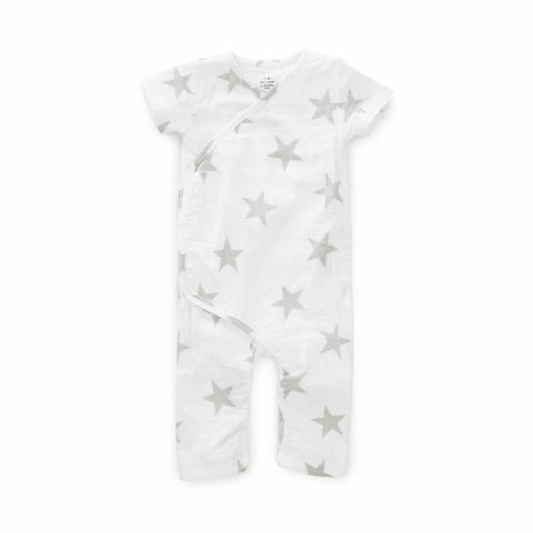 aden + anais Short Sleeve Kimono One-Piece Medium Silver Star