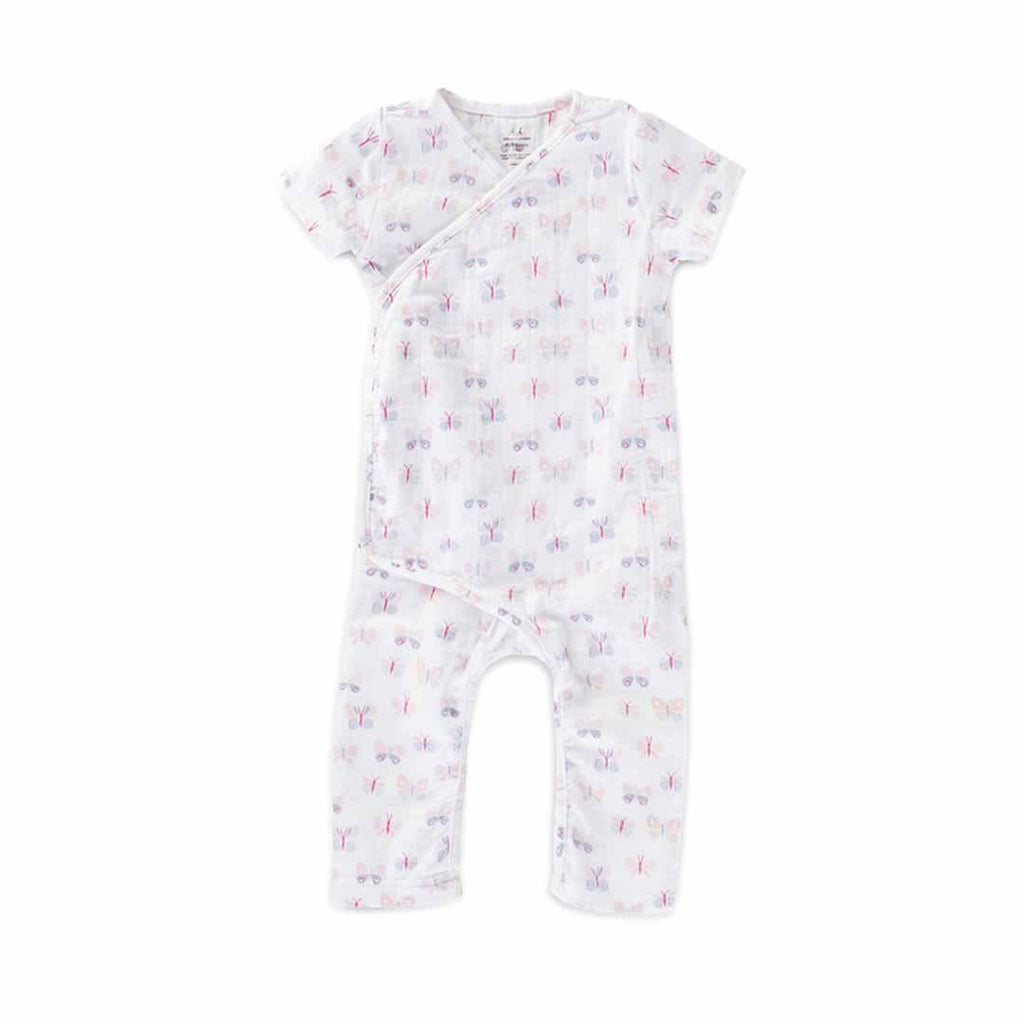 aden + anais Short Sleeve Kimono One-Piece - Mini Flutter - Babygrows & Sleepsuits - Natural Baby Shower