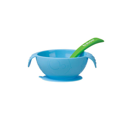 b.box Silicone Bowl + Spoon - Ocean Breeze-Bowls & Plates-Default- Natural Baby Shower