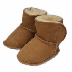 Baby Shoes & Booties - ECL Lambskin Baby Booties - Chestnut