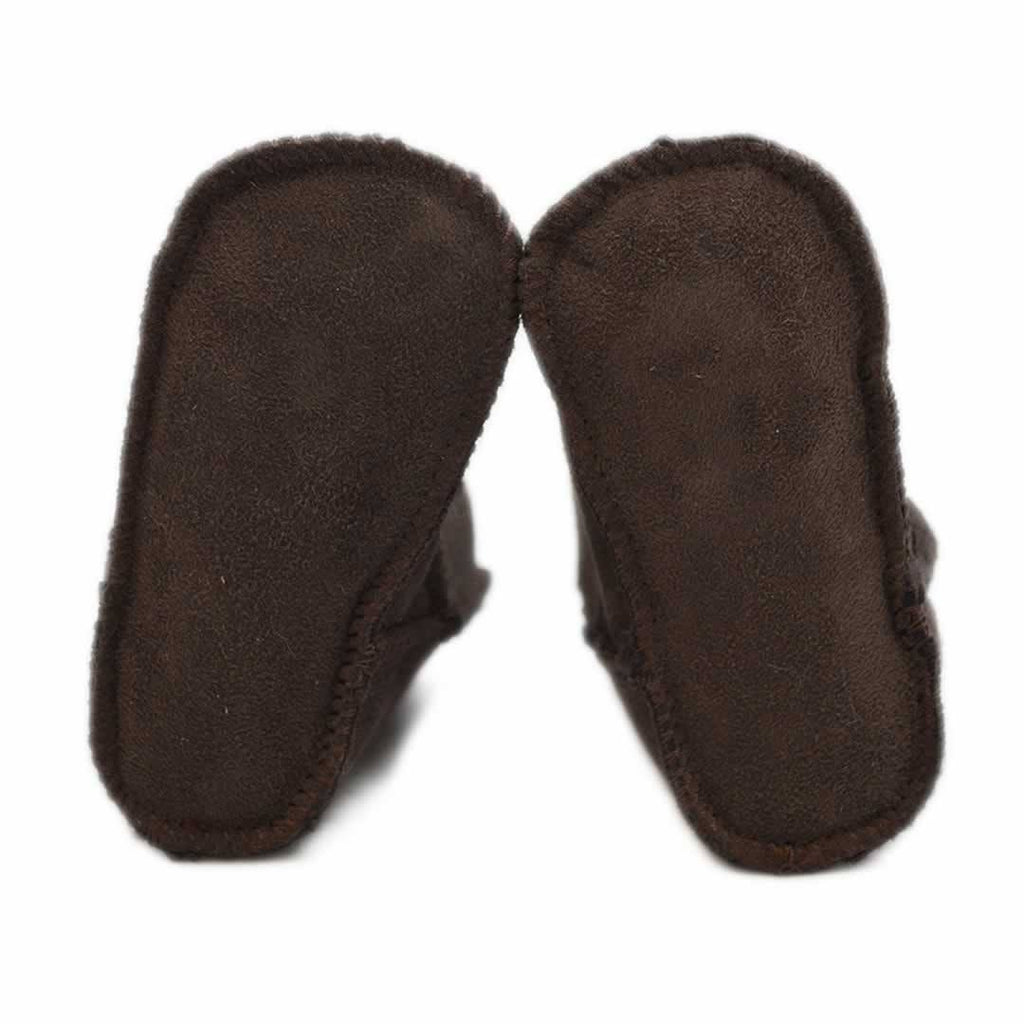 Baby Shoes & Booties - ECL Lambskin Baby Booties - Chocolate