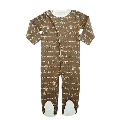 Finn + Emma Footie - Words - Babygrows & Sleepsuits - Natural Baby Shower