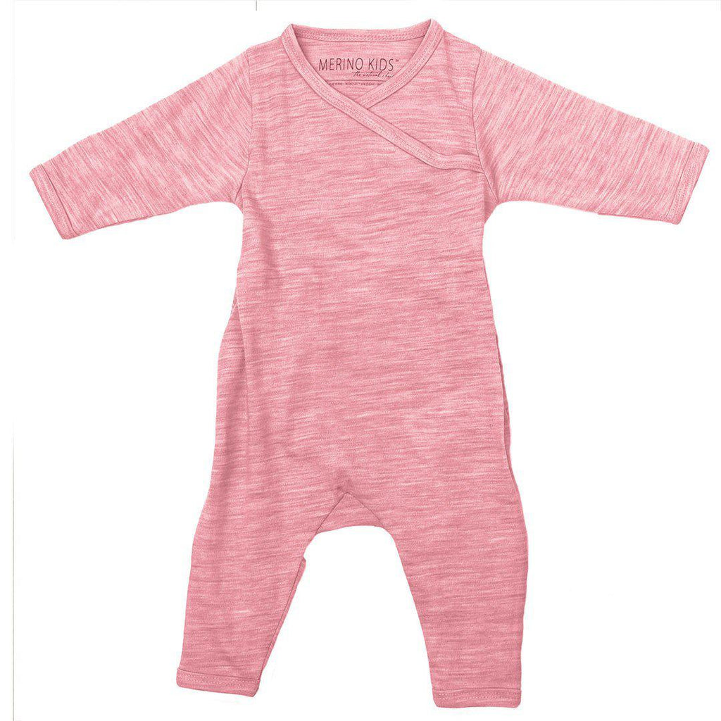 Babygrows & Sleepsuits - Merino Kids Cocooi All-in-One - Raspberry Melange
