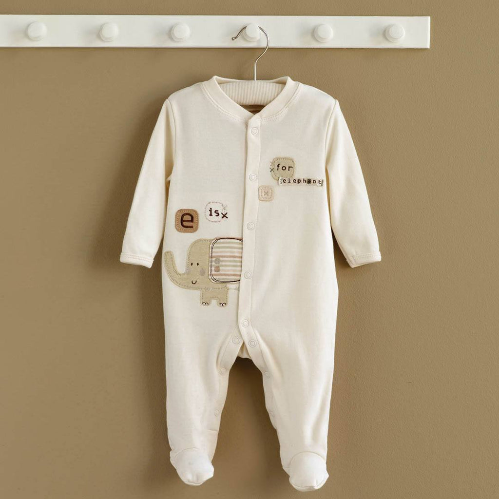 Babygrows & Sleepsuits - Natures Purest Sleepsuit - Sleepy Safari - Elephant