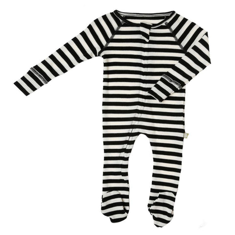 Babygrows & Sleepsuits - Nui Organics Zip Bodysock - Thermals - Black & White Stripe