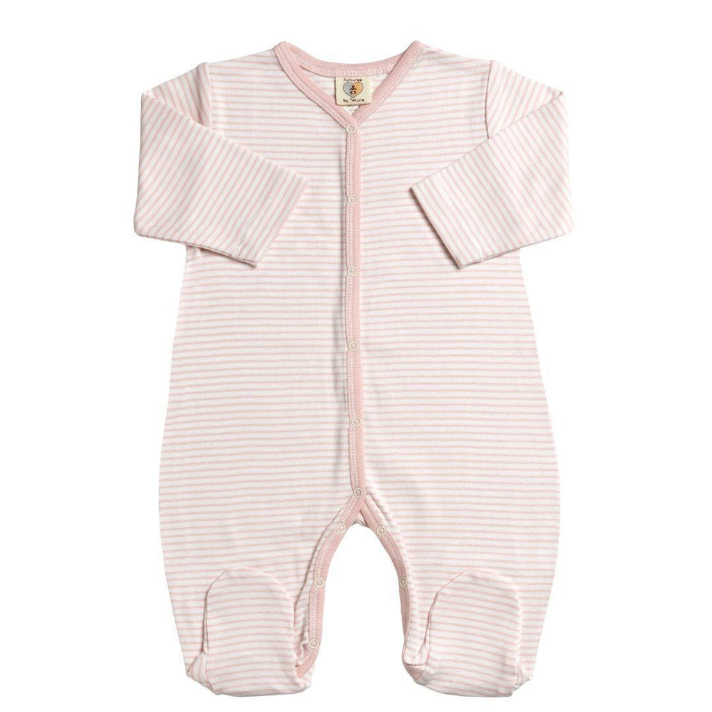Babygrows & Sleepsuits - Nurtured By Nature Snugglesuit - Kind Organic - Shortcake Stripe