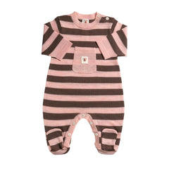Babygrows & Sleepsuits - Nurtured By Nature Snugglesuit - Pure Merino - Chocolate And Candytuft