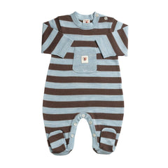 Babygrows & Sleepsuits - Nurtured By Nature Snugglesuit - Pure Merino - Chocolate And Cornflower