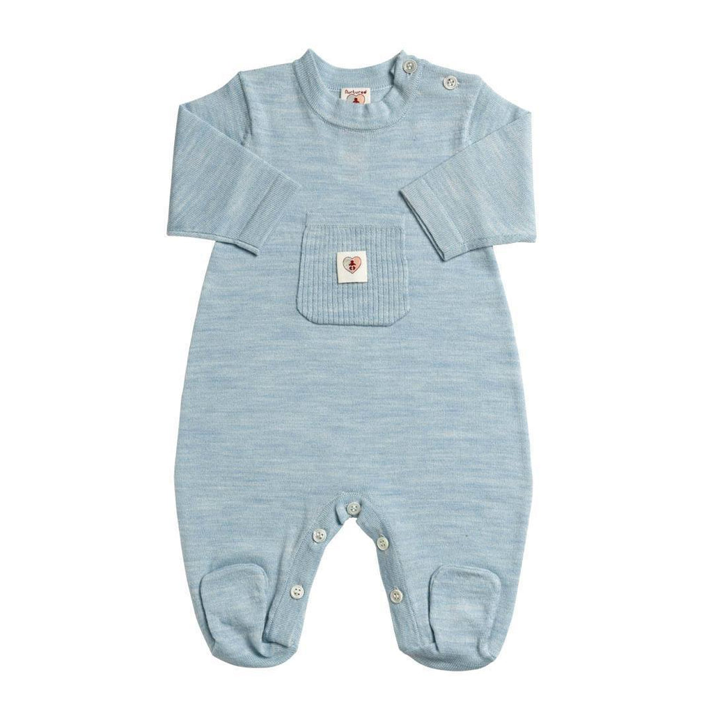 Babygrows & Sleepsuits - Nurtured By Nature Snugglesuit - Pure Merino - Cornflower