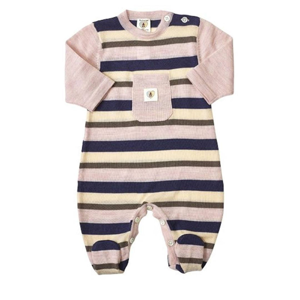 Babygrows & Sleepsuits - Nurtured By Nature Snugglesuit - Pure Merino - Stripe Navy/Candytuft