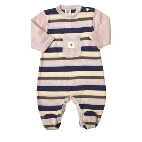 Nurtured by Nature Snugglesuit - Pure Merino - Stripe Navy/Candytuft - Babygrows & Sleepsuits - Natural Baby Shower