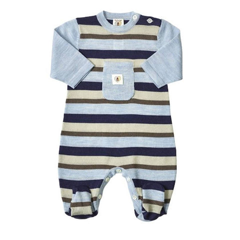 Babygrows & Sleepsuits - Nurtured By Nature Snugglesuit - Pure Merino - Stripe Navy/Cornflower