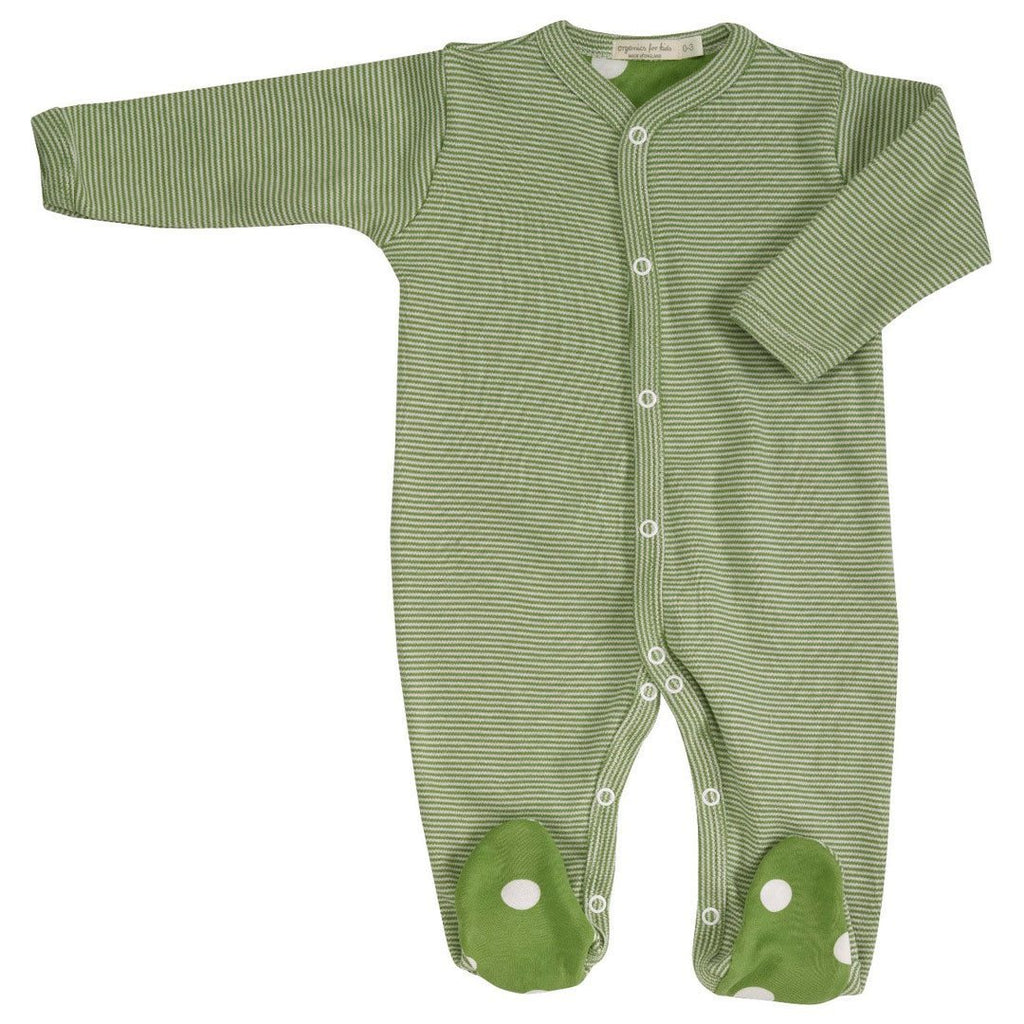 Babygrows & Sleepsuits - Pigeon Organics Sleepsuit - Spots & Stripes - Green