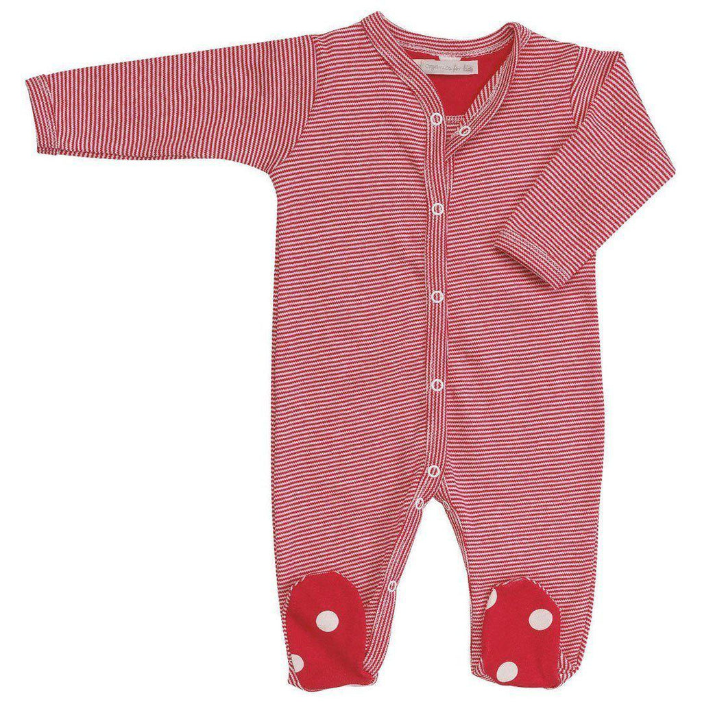 Babygrows & Sleepsuits - Pigeon Organics Sleepsuit - Spots & Stripes - Red