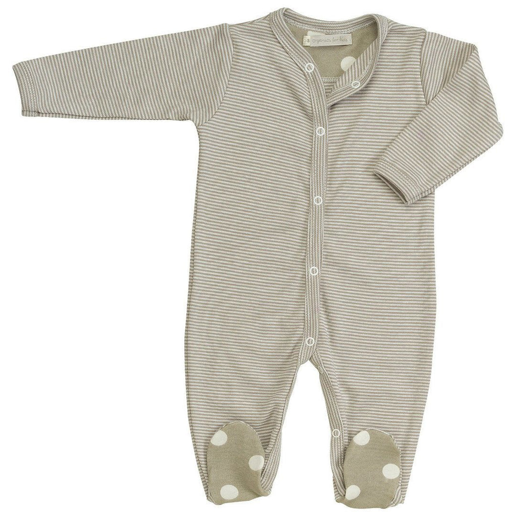 Babygrows & Sleepsuits - Pigeon Organics Sleepsuit - Spots & Stripes - Taupe