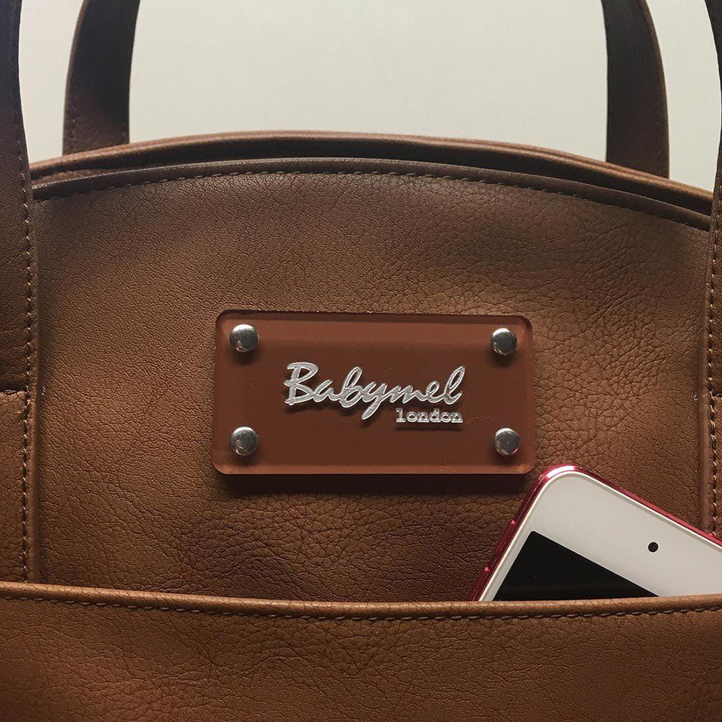 Changing Bags - Babymel Changing Bag - Grace - Tan Pocket Detail