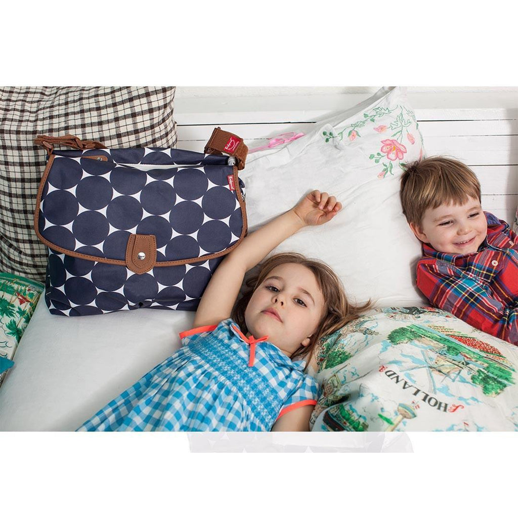 Babymel Changing Bag - Satchel - Jumbo Dot Navy Lifestyle