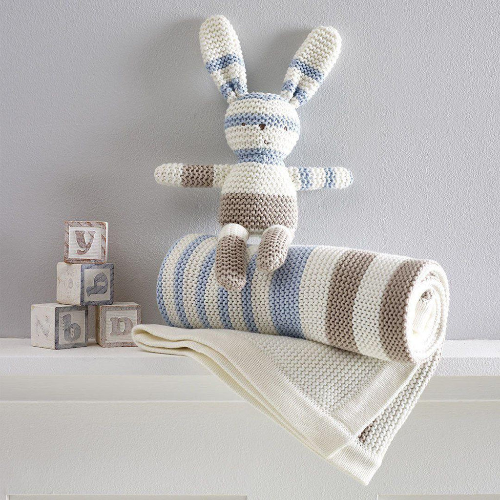 Blankets - Natures Purest Striped Blanket - Blue - Natures Knits