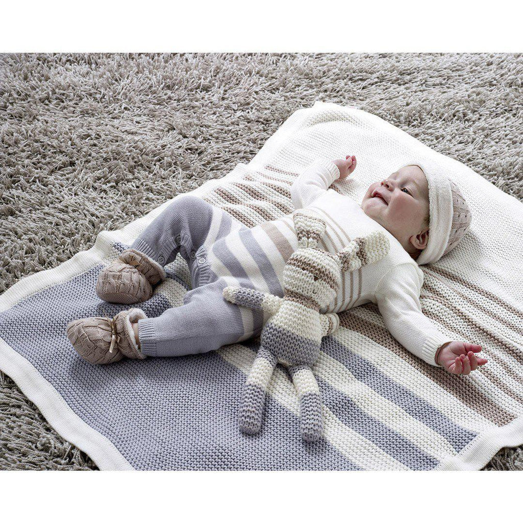 Blankets - Natures Purest Striped Blanket - Grey - Natures Knits