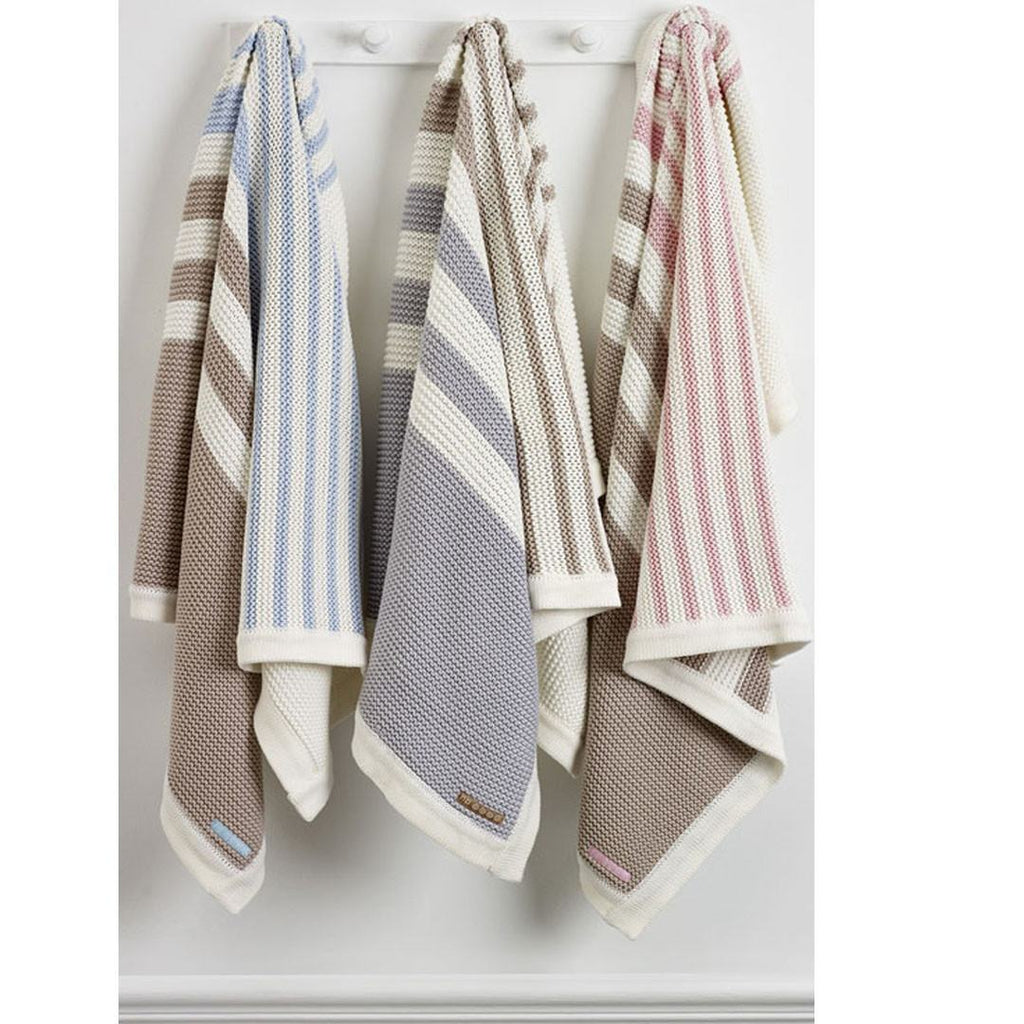 Blankets - Natures Purest Striped Blanket - Pink - Natures Knits