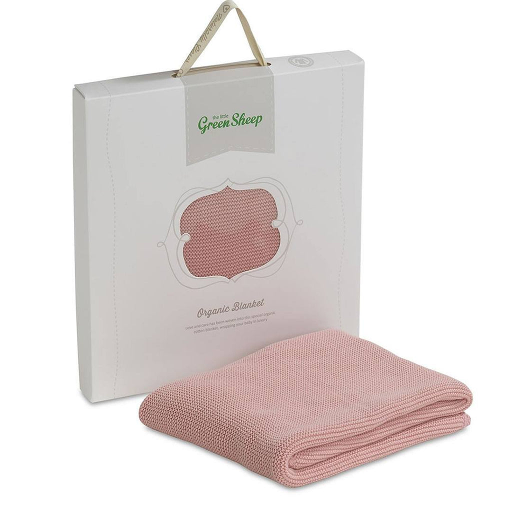 The Little Green Sheep - Organic Cellular Baby Blanket 73x73cm - Blossom Pink - Blankets - Natural Baby Shower