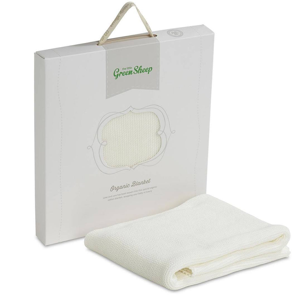 Blankets - The Little Green Sheep - Organic Cellular Baby Blanket 73x73cm - Eco-White