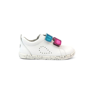 Bobux I-Walk Grass Court Switch Trainers - White - Raspberry + Peacock Metallic-Shoes- Natural Baby Shower