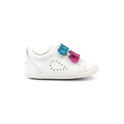 Bobux Step-Up Grass Court Switch Trainers - White - Raspberry + Peacock Metallic-Shoes- Natural Baby Shower