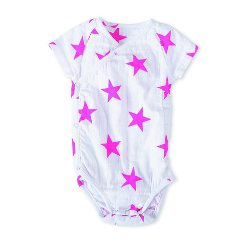 Bodies & Vests - Aden & Anais Muslin Short Sleeve Kimono Bodysuit - Medium Pink Star