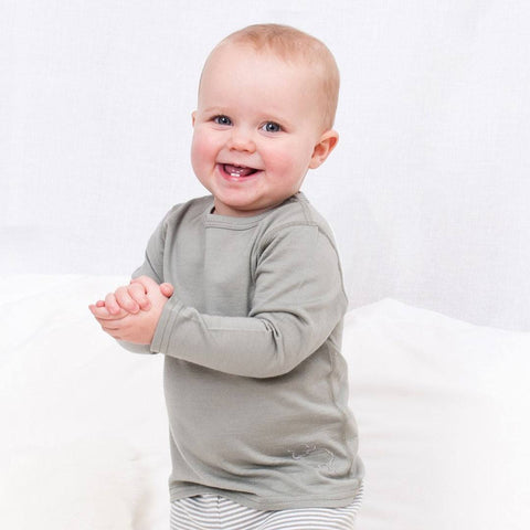 Bambino Merino Long Sleeve Vest Top - Sage - Bodies & Vests - Natural Baby Shower