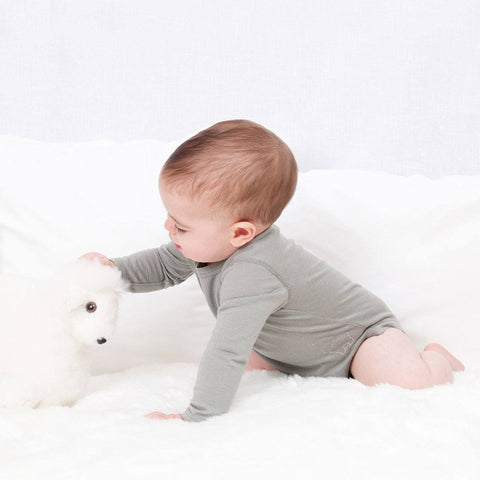 Bambino Merino Long Sleeved Body - Sage - Bodies & Vests - Natural Baby Shower