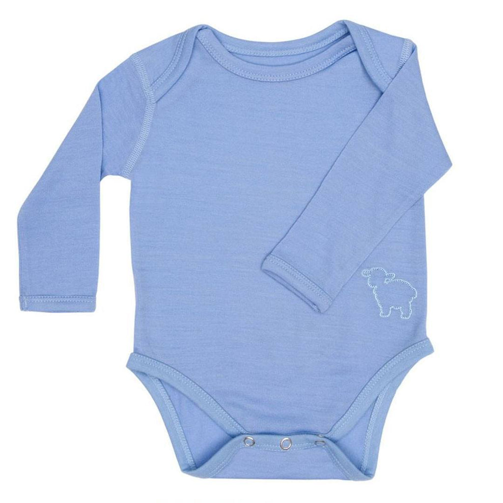 Bodies & Vests - Bambino Merino Long Sleeved Body - Sky