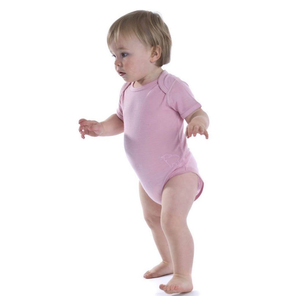 Bodies & Vests - Bambino Merino Short Sleeved Bodysuit - Petal