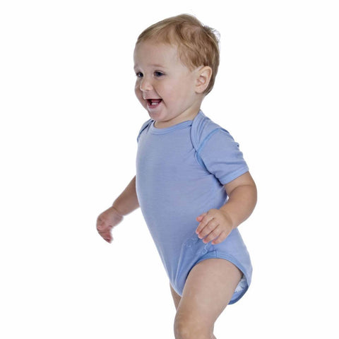 Bodies & Vests - Bambino Merino Short Sleeved Bodysuit - Sky