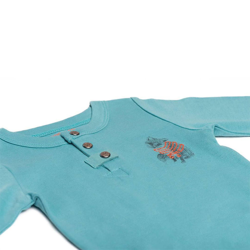 Finn + Emma Long Sleeved Bodysuit - Dusty Turquoise-Bodysuits- Natural Baby Shower