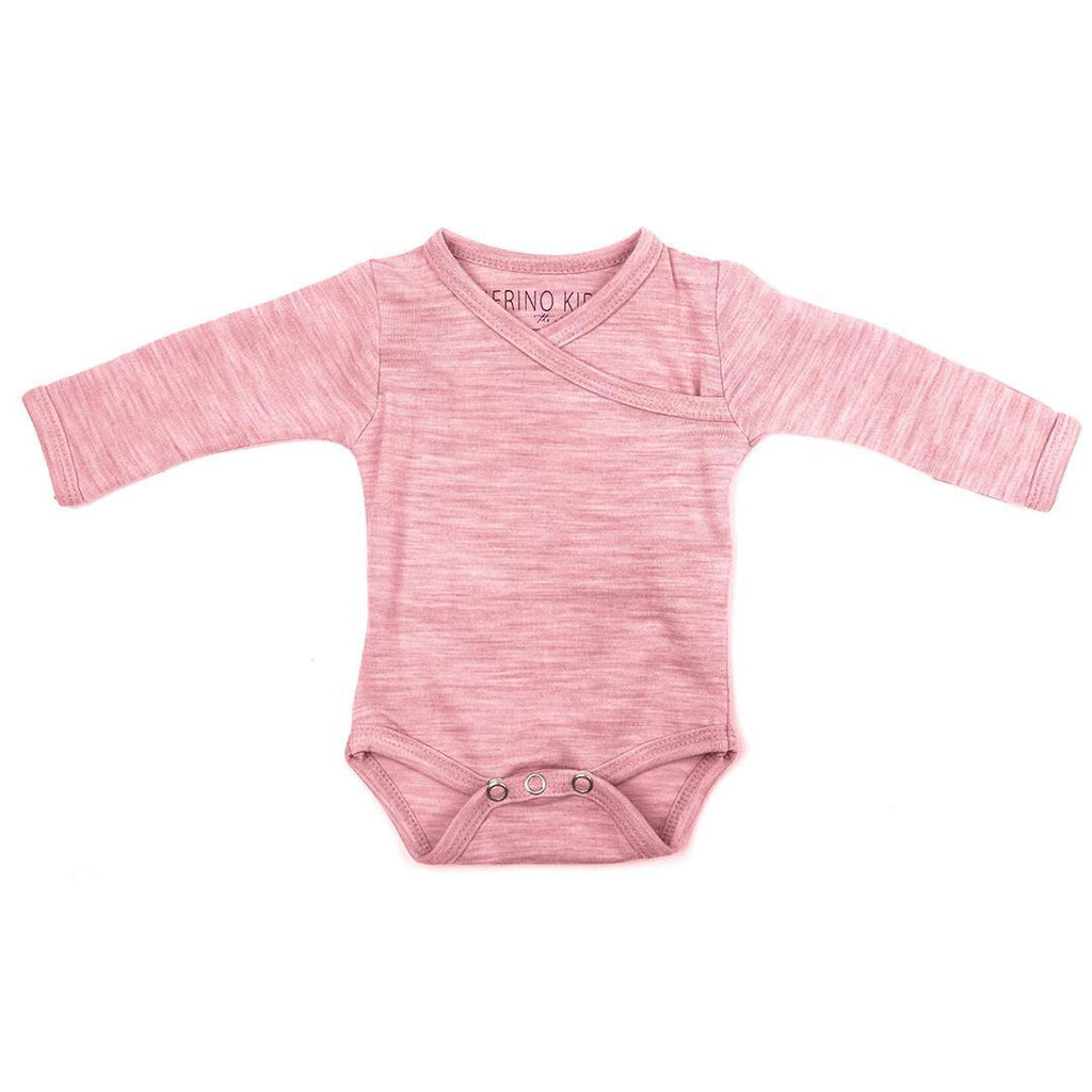 Bodies & Vests - Merino Kids Cocooi Bodysuit - Raspberry Melange