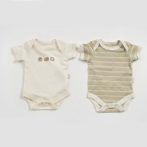 Natures Purest Bodysuits - Sleepy Safari - 2 Pack - Bodies & Vests - Natural Baby Shower