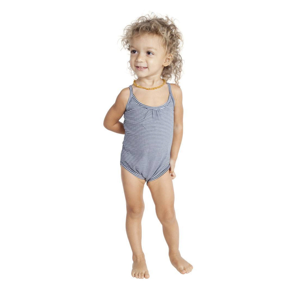 Bodies & Vests - Nui Organics Camisole Bodysuit - Organic Cotton - Black And White Stripe