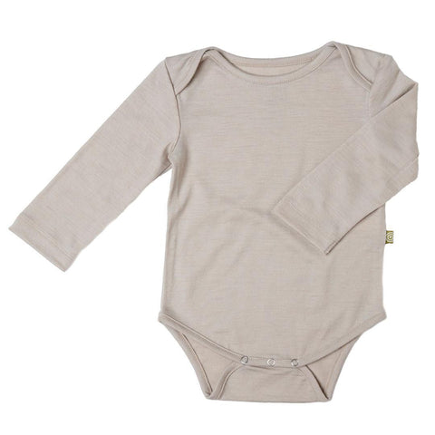 Bodies & Vests - Nui Organics Merino Long Sleeved Bodysuit - Fawn