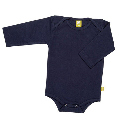 Bodies & Vests - Nui Organics Merino Long Sleeved Bodysuit - Navy