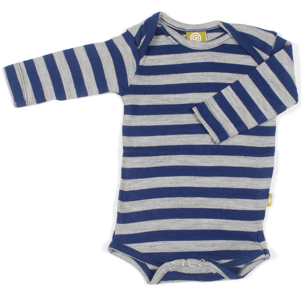 Bodies & Vests - Nui Organics Merino Long Sleeved Bodysuit - Navy & Silver Stripe
