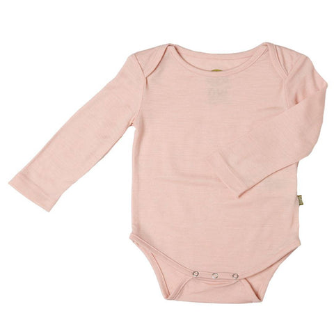 Bodies & Vests - Nui Organics Merino Long Sleeved Bodysuit - Pink