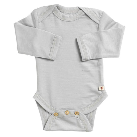 Nurtured by Nature Long Sleeved Body - Hush Merino - Pumice - Bodies & Vests - Natural Baby Shower