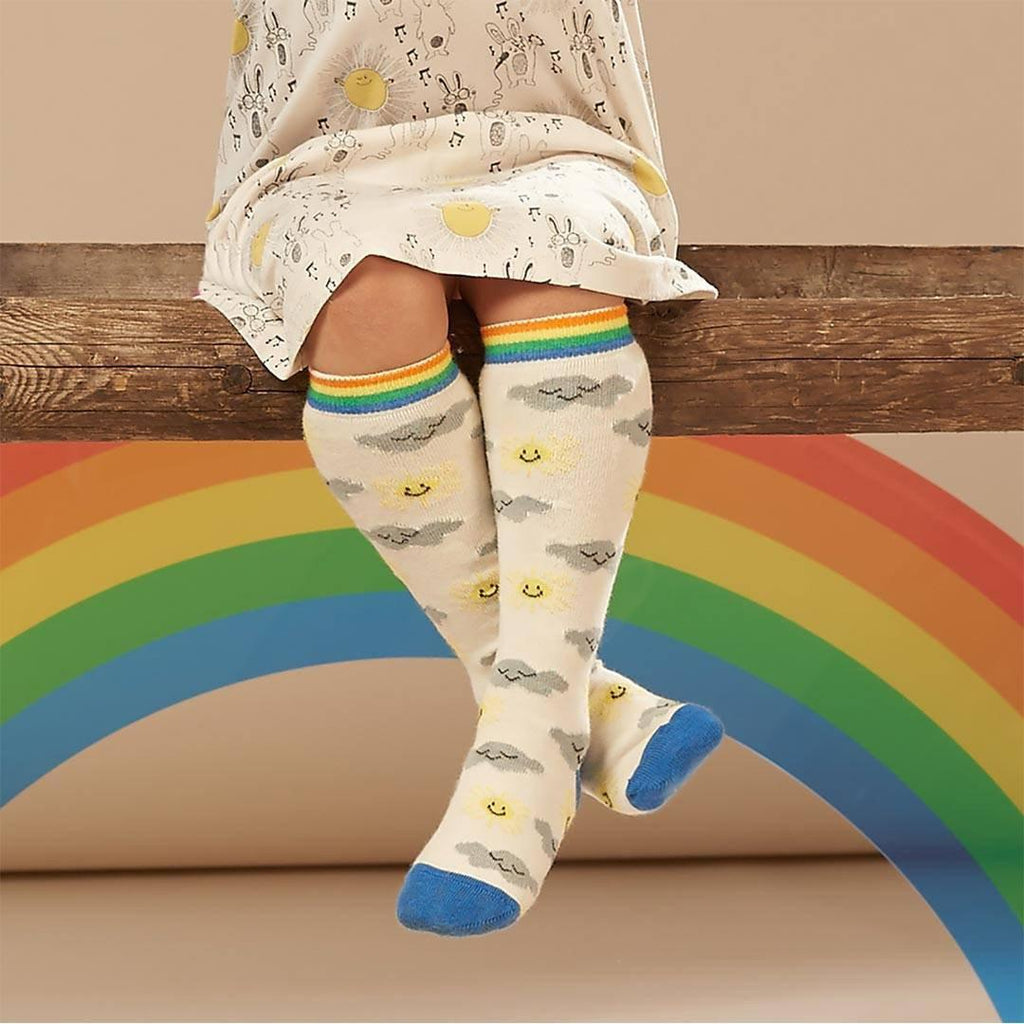 Bonnie Mob Tunes Knee Length Sunshine and Clouds Socks - Cream Lifestyle