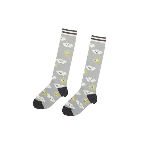 Bonnie Mob Tunes Knee Length Sunshine and Clouds Socks - Grey