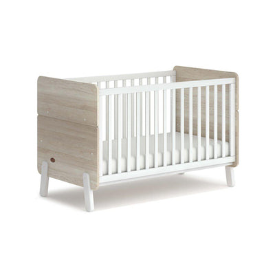 Boori Natty Cot Bed - White + Oak-Cot Beds-White + Oak- Natural Baby Shower