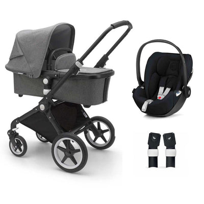 Bugaboo Lynx Cloud Z Travel System - Black + Grey Melange-Travel Systems-No Base- Natural Baby Shower