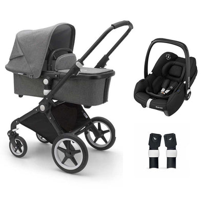 Bugaboo Lynx Tinca Travel System - Black + Grey Melange-Travel Systems- Natural Baby Shower